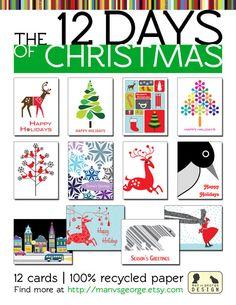 12 Days of Christmas Set of Twelve Modern Holiday by manvsgeorge