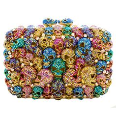 Butler & Wilson Swarovski Crystal Multi Skull Side Clutch Bag Multi featuring Swarovski crystal, chain(36cm), magnetic clasp.