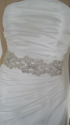 "Wedding dress belt crystal  bridal sash belt black white ,gold ivory wedding sash ""KATE. 3. $49.00, via Etsy."