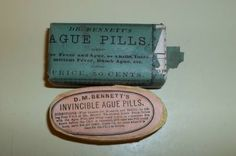 Dr. Bennett's Ague Pill Box Sealed Full 1 Cent Proprietary Stamp