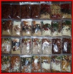 Backpacking/traveling meals - vacuum sealing the contents will prevent moisture from getting in and spoiling your food. Takes up less space in your pack too!