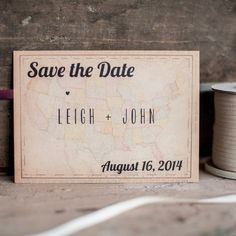 Rustic Save the Date Card Map Save the Date by starboardpress, $3.30