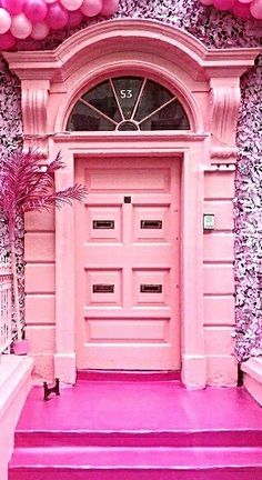 Pink door in Dublin, Ireland.