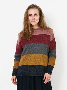 Familie Journal - strikkeopskrifter til hende Color Combinations, Knitting Patterns, Cardigans, Men Sweater, Stripes, Inspiration, Striped Sweaters, Jumpers, Knits