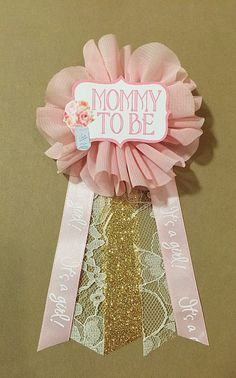 shabby chic pink gold lace baby shower mommytobe flower ribbon pin corsage