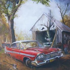 "Ian Guy's Painting of ""Christine"" 58 Plymouth Fury Horror Movie Posters, Horror Movies, Culture Pop, Geek Culture, Stephen King Books, American Graffiti, Plymouth Fury, The Dark Tower, Car Drawings"