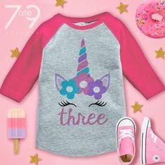 7 ate 9 Apparel One First Birthday Dinosaur Pink Baseball Tee