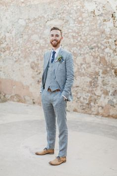 Pale Blue 3 Piece Groom's Suit