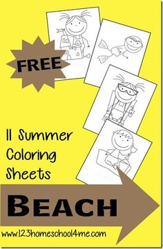FREE Summer Coloring Sheets For Kids With A Beach Fun