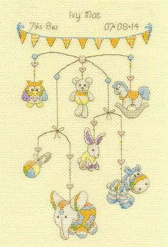 Cute Mobile Birth Record Cross Stitch Kit by DMC from £18.20
