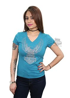 Harley-Davidson Womens Silver Upwing Eagle Teal Short Sleeve V-Neck - LG. Harley-Davidson Womens Silver Upwing Eagle Teal Short Sleeve V-Neck. Specific Color: Teal. Dealer Customized Item (BARNETT HARLEY DAVIDSON). Officially Licensed Harley-Davidson Product by VF Imagewear.