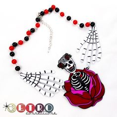 sugar skull rose skeleton hand beads alloy horror tattoo rockabilly necklace