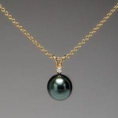 Tiffany & Co. Elsa Peretti Pendant Necklace Tahitian Pearl & Diamond 18K Gold