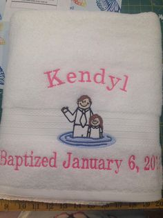 Order your loved one a Baptism Towel. Personalize the bath towel with the name and date, or with My Baptism Towel. Standard sized, good quality, white bath towel, embroidered with a darling design of a girl and a Father in the water. You pick the color of hair. Blonde, black, red or brown. Towel Girl, Block Fonts, Baptism Ideas, Different Fonts, Font Styles, Lds, Bath Towels, Give It To Me, Father
