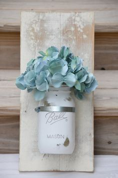 Cottage shabby chic white and coastal blue by JustMasonAround, $28.00