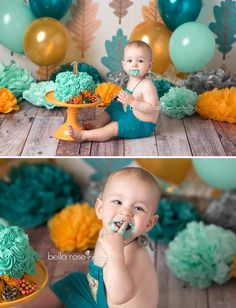 Bella Rose Portraits Newborn and Baby Photographer Springfield, VA | Baby photographer baby boy fall cake smash 1st birthday Teal Aqua Golden Yellow tan gold leaves colorful