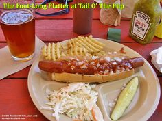 "The ""Foot-Long Hot Dog Platter"" at Tail O' The Pup in the Adirondack Mountains. Hot Dog Buns, Hot Dogs, Pops Restaurant, Long Hots, Adirondack Mountains, Platter, Rv, Restaurants, Good Food"