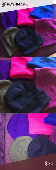 Lot of 6 beanies Some never used. Closet cleaning is in the works. Lot of 6 beanies. 1 fuchsia, purple, gray, navy blue, cobalt blue and dark purple. Accessories Gloves & Mittens