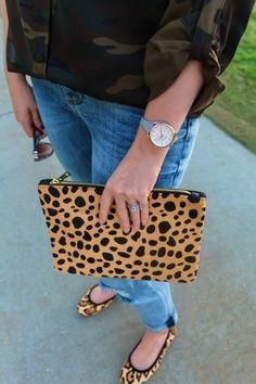The detail of this real calf hair leopard clutch is EVERYTHING! And a steal at under $50! | Shop all my looks at www.blushingmacaron.com/shop