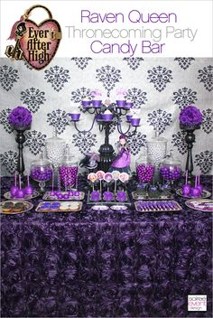 Purple party decorations - Ever After High Party Raven Queen's Thronecoming – Purple party decorations Monster High Party, Festa Monster High, Monster High Birthday, Ever After High, Purple Party Decorations, Wedding Decorations, Wedding Candy Table, Bar A Bonbon, Purple Birthday