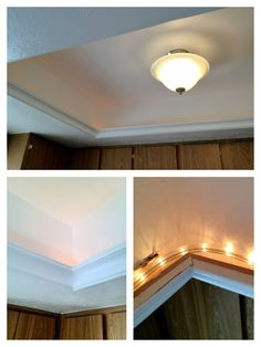 A great idea for updating the ugly fluorescent light box without dropping the ceiling.