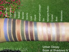 Urban Decay, Book of Shadows IV, BoS 4, swatches, Blue Bus, Gunmetal, Cobra, Baked, Bender, Gravity, Lost, Hijack, Midnight Cowgirl, Sin, Midnight Rodeo