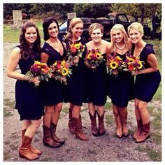 navy bridesmaids with bright flowers - Google Search