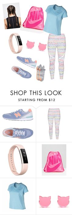 """spring into action"" by missleanna ❤ liked on Polyvore featuring New Balance, Röhnisch, Fitbit, NIKE, adidas and plus size clothing"