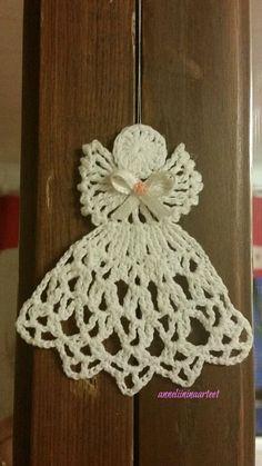virkattu kuusenkoriste enkeli, virkattu enkeli - crochet angel