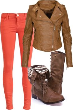 I love orange pants! And boots! And leather jackets!