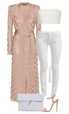 """Untitled #1172"" by efiaeemnxo ❤ liked on Polyvore featuring Balmain, 7 For All Mankind, Alexander McQueen, Katie Ermilio, Prada, balmain, sbemnxo, styledbyemnxo, cutecardigan and springlayers"