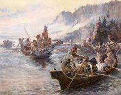"""""""The first recorded Europeans to visit Montana were the members of the transcontinental Lewis and Clark Expedition of 1804-1806"""" (JD)   Lewis and Clark on the Lower Columbia by Charles Marion Russell;"""