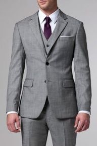 My fianc loves this suit .... This is exactly the look we are going for the grey suits with the purple accents... The perfect look for a fall or winter wedding