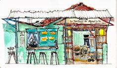 love the loose sketching techniques & use of white space: Urban Sketchers Costa Rica