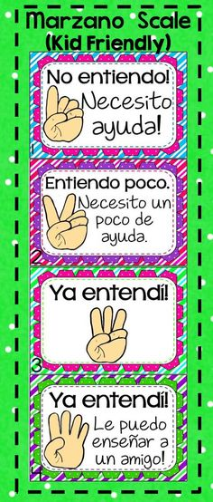 **** Spanish Version This Marzano Scale is perfect for the little ones! It's cute, and simple to understand. Posters and bookmarks are included. Matches my hand signals clipart :). Just print, laminate, and post. Your administrators will love that you have a Marzano Scale posted in your classroom! Also available in English! Created by Alma Almazan