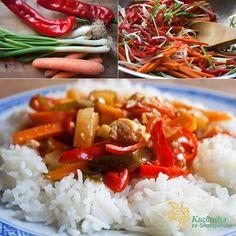 Kuchařka ze Svatojánu: TOFU NA SLADKOKYSELO Tofu, Seitan, Grains, Rice, Healthy Recipes, Chicken, Meat, Food, Healthy Eating Recipes