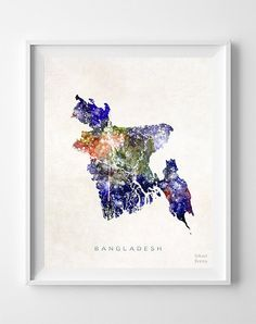Bangladesh Map Asia Print Dhaka Watercolor Home by InkistPrints
