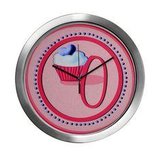 Pink Cupcake Monogram O Modern Wall Clock #cupcakes #monograms #initialo