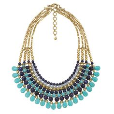 #Tropical #Necklace - A #beautiful #statement necklace made with #turquoise + #lapis beads