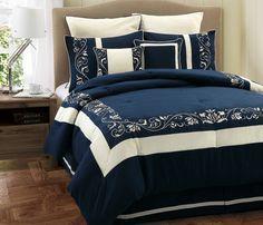 KingLinen Queen Mateo Navy and White Comforter Set - Schlafzimmer Blue And White Comforter, Blue Comforter, White Bedding, Comforter Sets, Duvet, Navy Bedrooms, Blue Bedroom, Bedroom Decor, Bedroom Linens