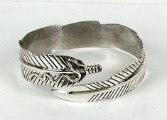 Authentic Native American sterling silver adjustable feather bangle bracelet by Navajo Ben Begaye