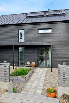 Passive House in Sweden House By The Sea, My House, Sweden House, Passive House, Exterior Siding, Black House, Minimalist Home, Detached House, Cladding