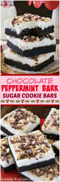 Chocolate Peppermint Bark Sugar Cookie Bars - these easy cookie bars are made and frosted in one pan. Peppermint frosting & candy bars make these the best recipe for Christmas parties! (frosting for sugar cookies) Christmas Desserts, Christmas Treats, Christmas Baking, Holiday Treats, Christmas Parties, Christmas Recipes, Christmas Cookies, Thanksgiving Desserts, Christmas Drinks