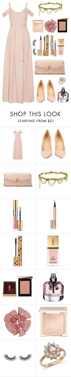 """Untitled #1149"" by dbellz ❤ liked on Polyvore featuring Rachel Zoe, Christian Louboutin, Dolce&Gabbana, Jennifer Behr, Yves Saint Laurent, Hourglass Cosmetics, Charlotte Tilbury, Jouer, Unicorn Lashes and Bloomingdale's"