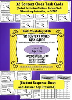 32 Context Clues Cards that will undoubtedly build your students' vocabulary - Common Core & TEK Aligned. Perfect for station/center or whole teach. Student Response Sheet and Answer Key included #contextclues #vocabulary #taskcards https://www.facebook.com/positivelypassionateaboutteaching