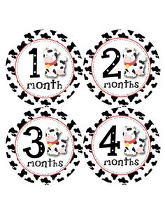 Baby Month Stickers Monthly Stickers Girl Monthly Bodysuit Stickers Baby Shower Gift Photo Prop Baby Milestone Sticker - Cow Print B189