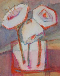 "Daily Paintworks - ""framed -3 white flowers"" - Original Fine Art for Sale - © Vicki Wood"
