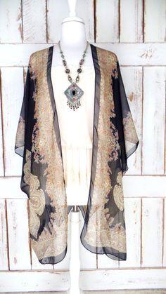 Blue/beige/tan floral paisley print sheer gauzy kimono cardigan ...