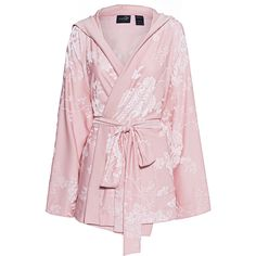 Fenty x Puma by Rihanna Boxing Bomber Robe Silver Pink // Laced kimono... (€219) ❤ liked on Polyvore featuring outerwear, jackets, coats, kimono, puma, pink bomber jacket, pink kimono, hooded bomber jackets, embroidered bomber jacket and kimono jacket
