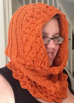 My projects crocodile stitch hooded cowl